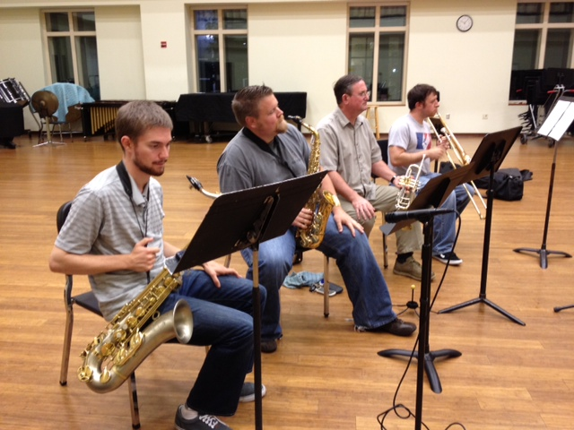 The horn section - Keenan McKenzie, Aaron Hill, Jim Ketch, and Lucian Cobb